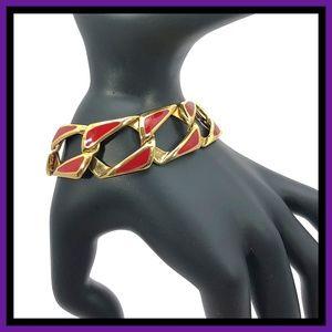 Vintage Napier Red & Gold Chain Link Bracelet